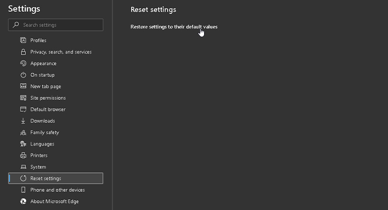 Clicking on restore settings to their default values in the Microsoft Edge browser