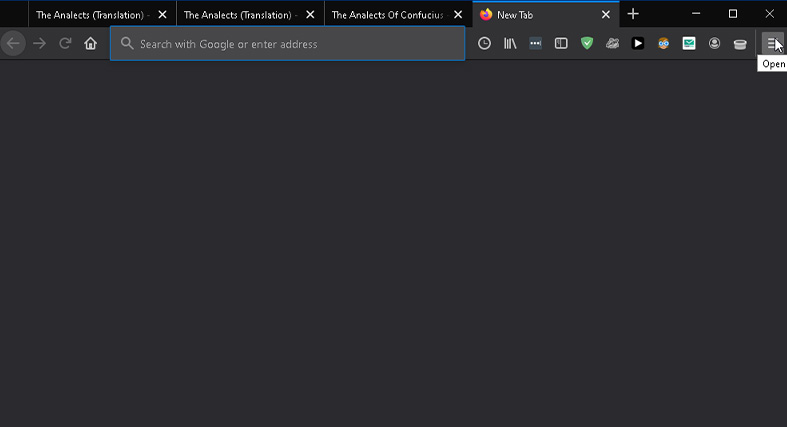 finding the hamburger menu and opening it in Mozilla Firefox