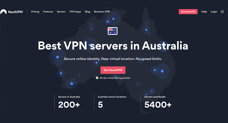 the NordVPN Australia homepage