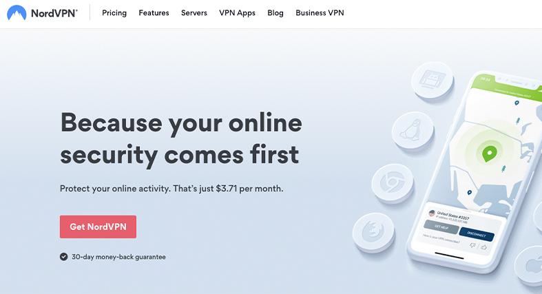 the NordVPN homepage