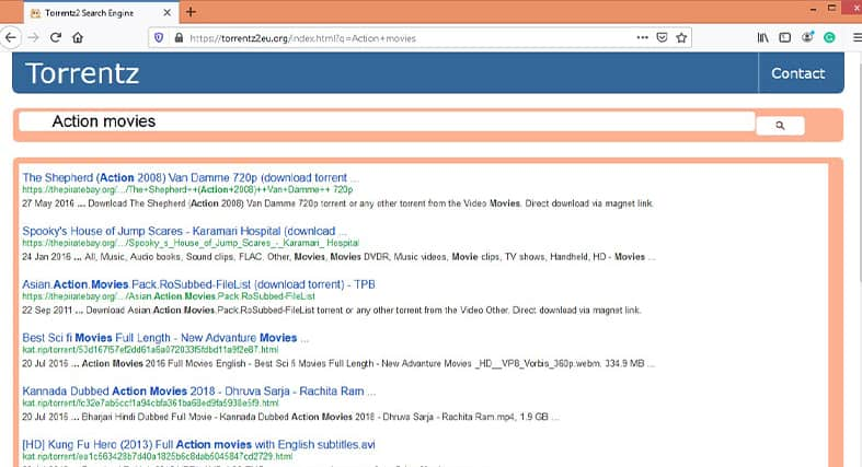 the Torrentz action movies result page