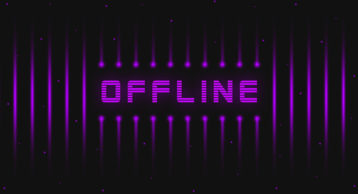 an image of the letters offline showcased in purple lights