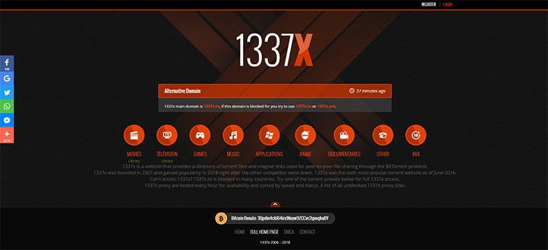 An image featuring the homepage of the 1337X website