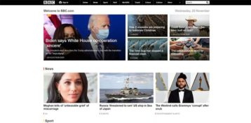 An image featuring the homepage of the BBC website