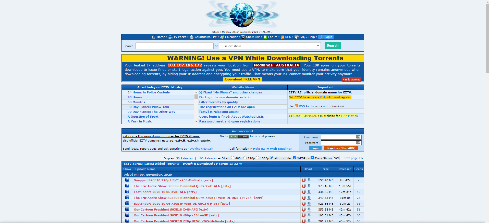 An image featuring the homepage of the EZTV website