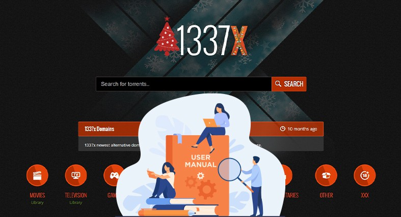An image featuring the homepage of the 1337x website with people using a laptop and their phones representing an user manual for how to use the 1337x website