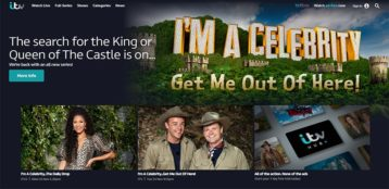 An image featuring the homepage of the ITV website