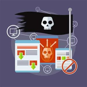 An image featuring a pirate flag and other website contents representing piracy
