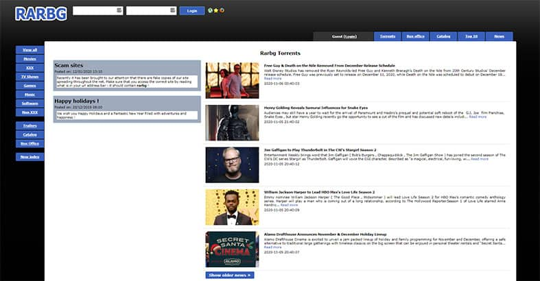 An image of the website RARBG Torrents featuring the homepage