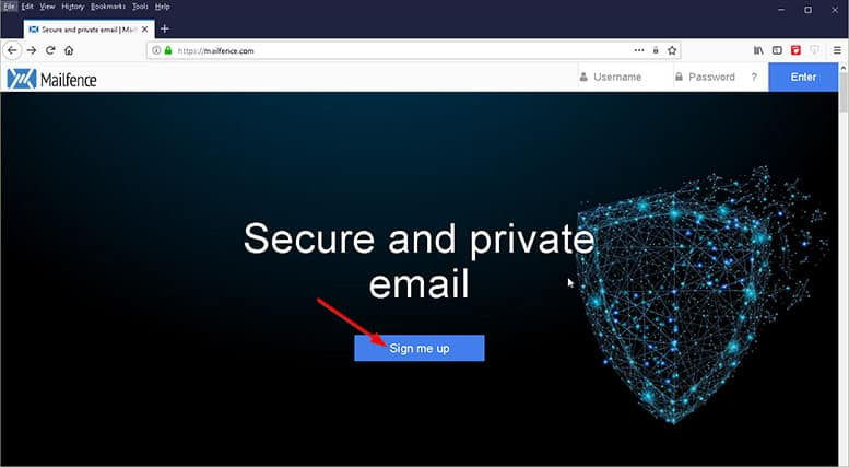 An image featuring how to create an account in Mailfence step 1