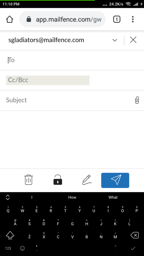 An image featuring compose message section in Mailfence mobile web app
