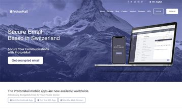 ProtonMail homepage