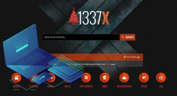 An image featuring the homepage of the 1337x website with a laptop on the left side representing proxy websites for 1337x