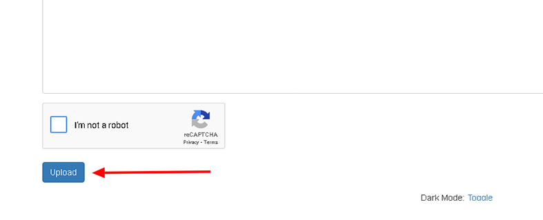 Click the Upload button