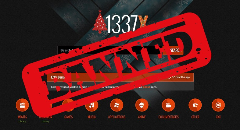 An image featuring the homepage of the 1337x website with a banned logo on top of it representing 1337x ban on YTS group
