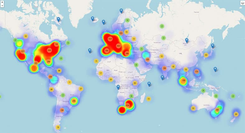 An image featuring the world map with covid-19-related threats statistics
