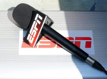 An image featuring a microphone stand with the ESPN logo