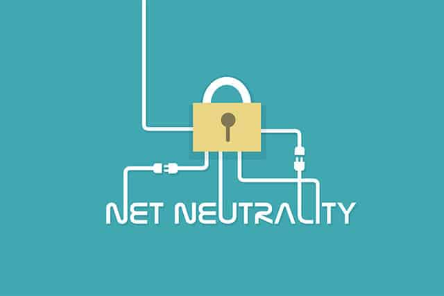 An image featuring a lock with text that says net neutrality