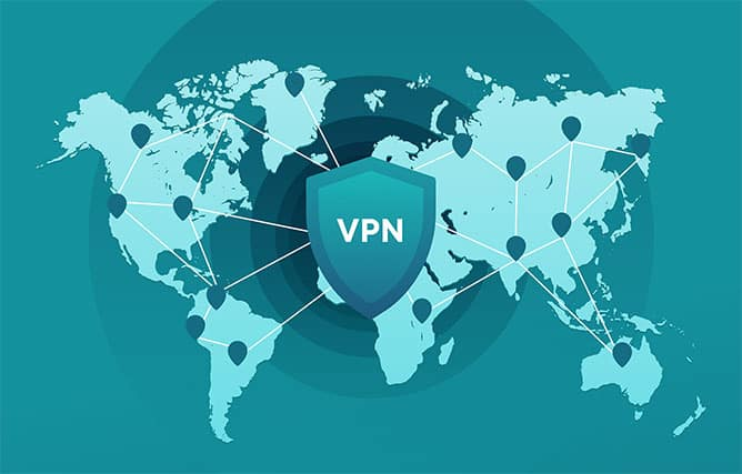 An image featuring the world map with the VPN logo in the center connecting to countries representing a VPN service