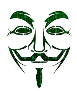 An image featuring the anonymous mask with green numbers behind it representing malware