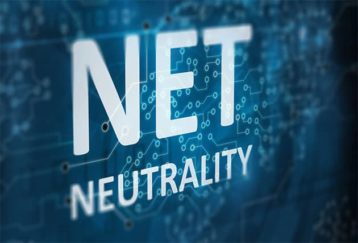 An image featuring a text that says net neutrality with a blue background