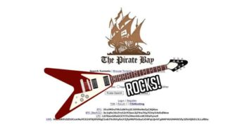 An image featuring the homepage of thepiratebay website with a guitar in the middle that says rocks beneath it representing thepiratebay.rocks