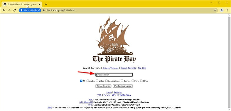 An image featuring how to download a torrent file while using the pirate bay step6