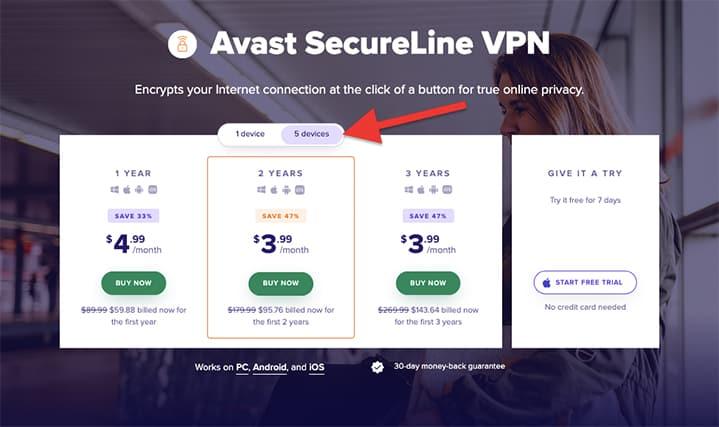 An image featuring Avast SecureLine VPN subscription plans