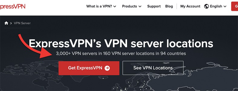 An image featuring ExpressVPN's homepage that has information about their VPN servers location