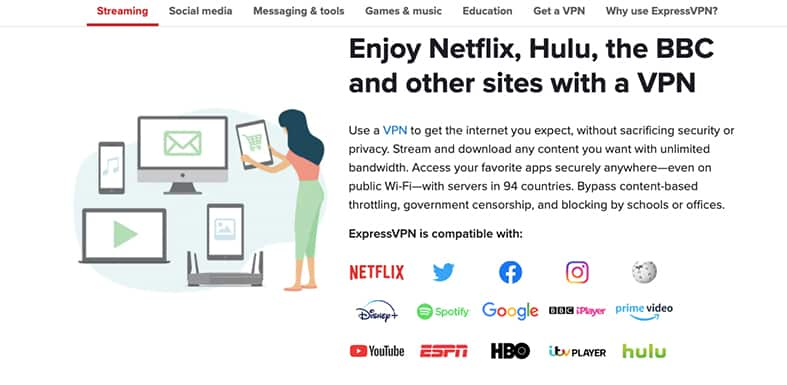 An image featuring multiple streaming devices that use a VPN in order to enjoy them