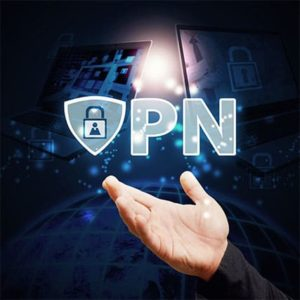 An image featuring a person holding out his hand with the VPN logo on top of it