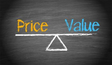 An image featuring artistic concept with a triangle in the middle and on the sides that says price and value representing pricing