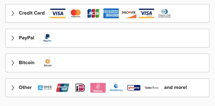An image featuring the payment methods that ExpressVPN offers