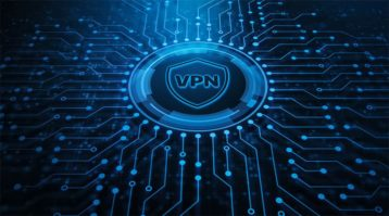 An image featuring a VPN logo in the center with multiple blue lines spreading out of it