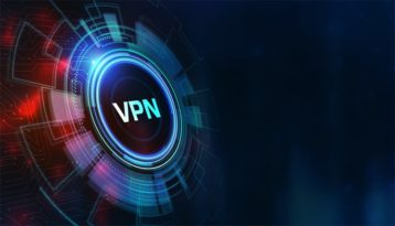 An image featuring a VPN logo with blue artistic lines outside of it