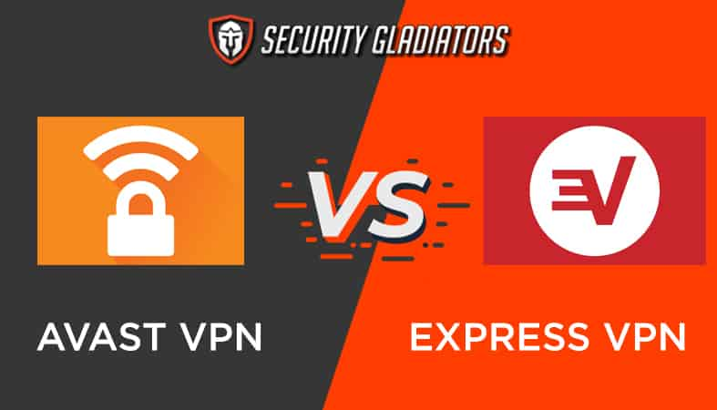 An image featuring the Security Gladiators logo with Avast VPN vs Express VPN comparison