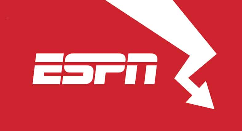 An image featuring the ESPN logo with an arrow pointing downwards representing ESPN's rating going down