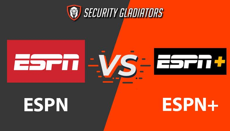 An image featuring the ESPN logo versus the ESPN+ logo comparing the two of them with the Security Gladiators background