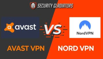 An image featuring the Security Gladiators logo with Avast VPN vs NordVPN comparison