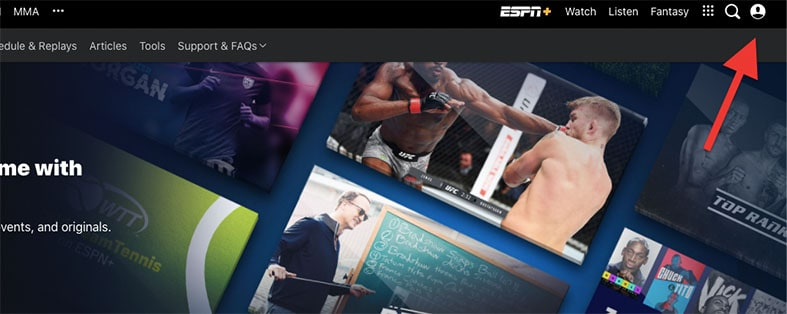An image featuring the ESPN+ application with arrow pointing on the user profile