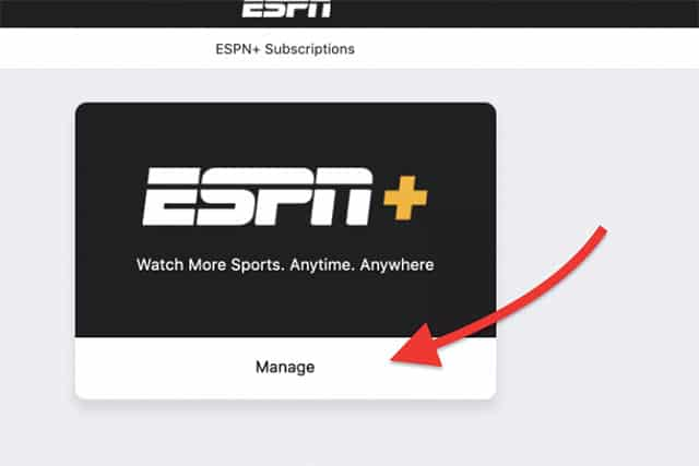 An image featuring the ESPN+ application while opening the ESPN+ subscription management