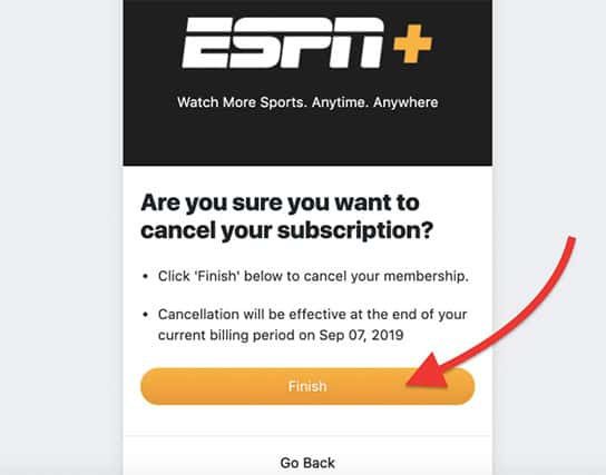 An image featuring the ESPN+ application where it shows to confirm canceling your subscription
