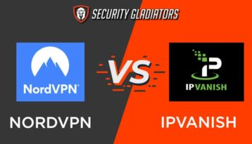 An image featuring the Security Gladiators logo with NordVPN vs IPVanish comparison