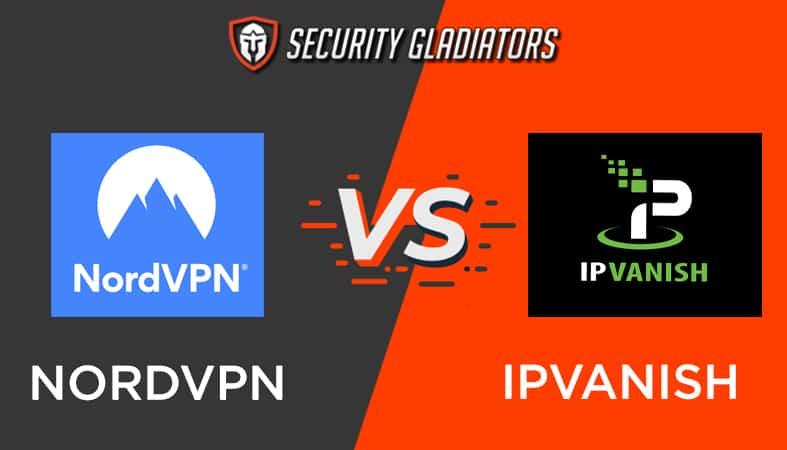 An image featuring the Security Gladiators logo with NordVPN vs IPVanish comparison