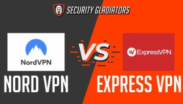 An image featuring the Security Gladiators logo with the NordVPN versus ExpressVPN representing comparison between those two VPNs