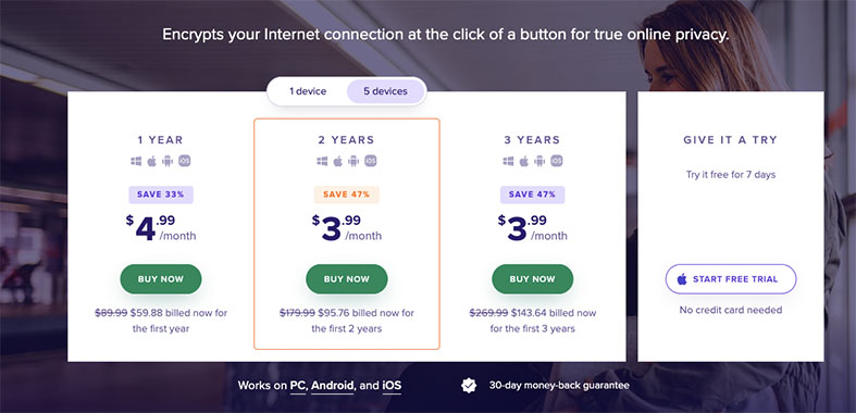 An image featuring the subscription plans of Avast's SecureLine VPN