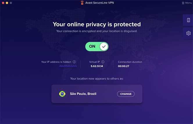 An image featuring the main page when using the Avast SecureLine VPN application