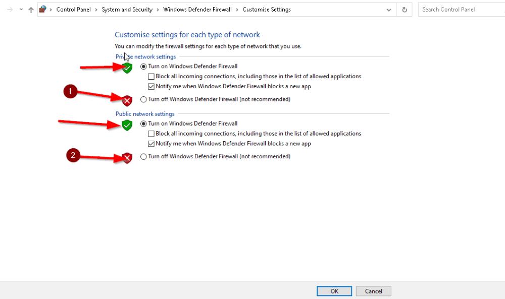 An image featuring how to disable firewall step3e