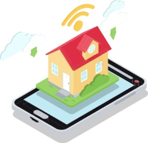An image featuring a drawn house on top of an smartphone