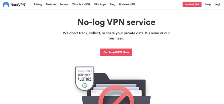 An image featuring NordVPN's No log VPN service information